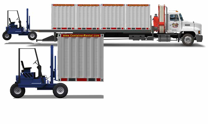 Portable Storage Delivery With Piggyback Truck.